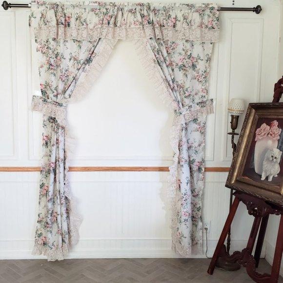 Vtg Priscilla Curtains Antique Rose Lace 84W x 87L